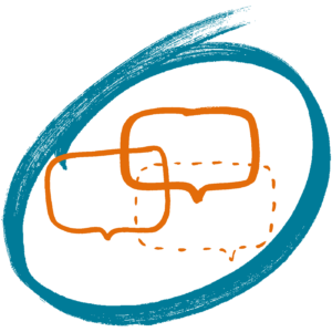 """Logo von AoH Österreich 2018, Yspertal: drei verschieden """"laute"""" orange Sprechblasen in einem schwungvollen Kreis in türkisblau gefasst"""